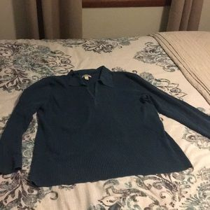 Teal long sleeve sweater with collar